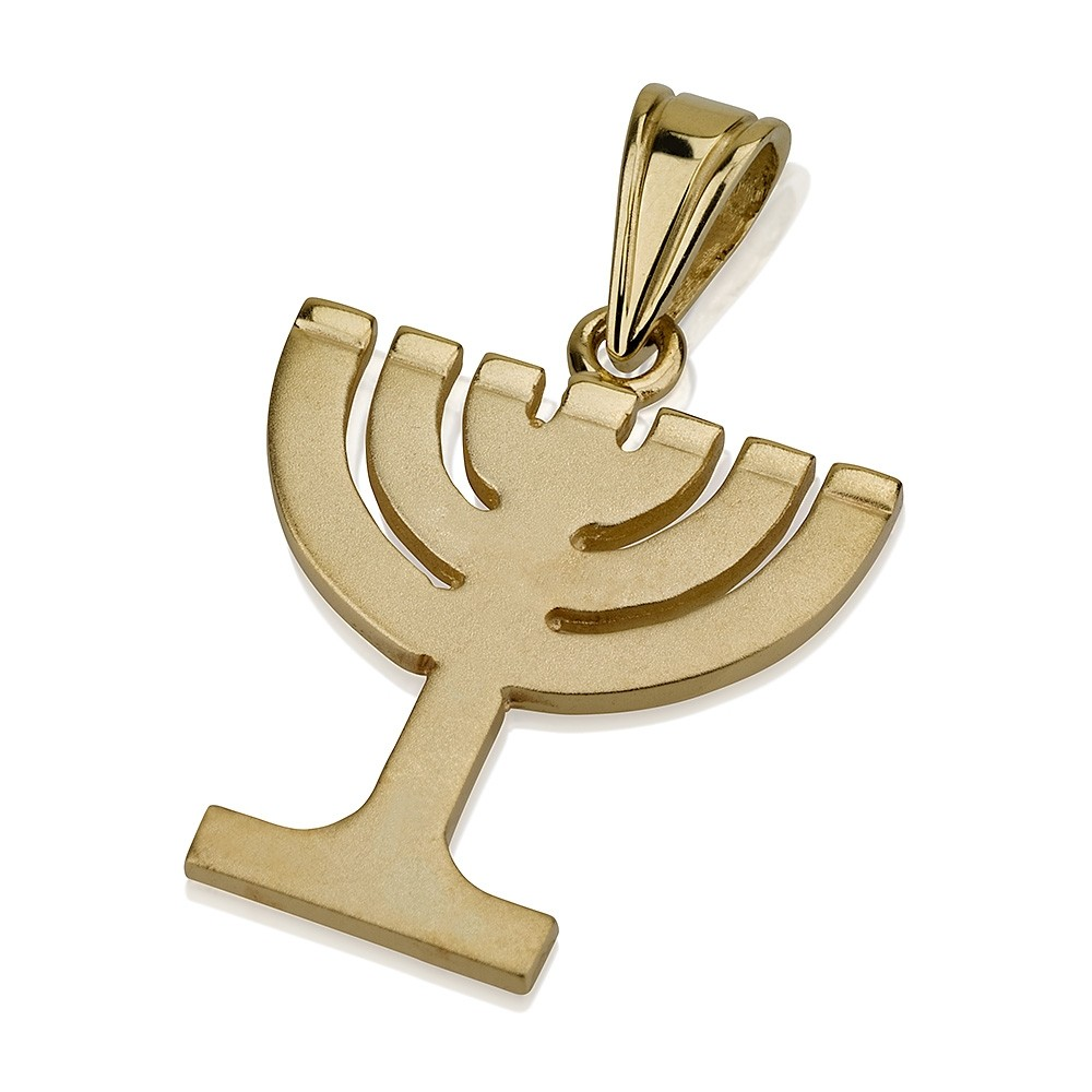 Menorah Pendant Minimalist Design 14k Gold - Baltinester Jewelry