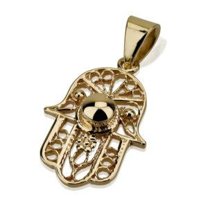 Filigree Hamsa Gold Dome Detail 14k Pendant - Baltinester Jewelry