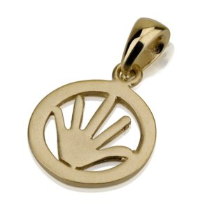 Fun Hamsa 14k Gold Matte Finish - Baltinester Jewelry