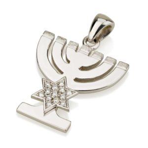 14k White Gold Menorah Pendant with Diamonds - Baltinester Jewelry