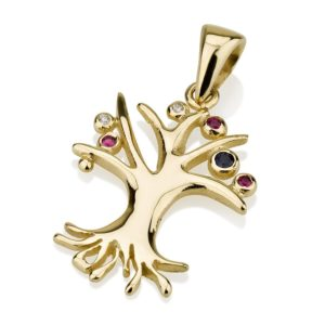 Tree of Life Rubies Diamonds Sapphires 14k Pendant - Baltinester Jewelry