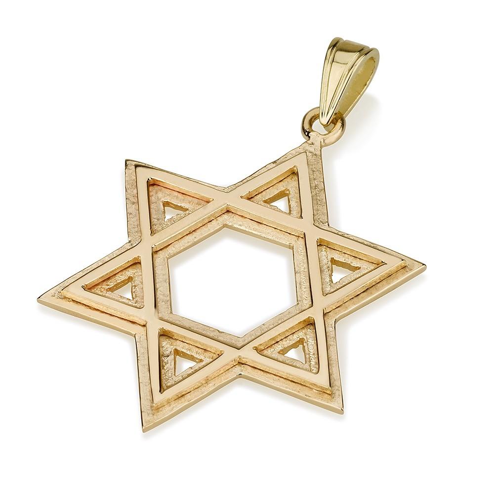 Star of David Dual Layer 14k Pendant Yellow Gold - Baltinester Jewelry
