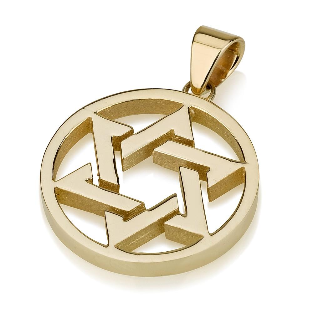 Large 14k Interlocked Star of David Medallion - Baltinester Jewelry