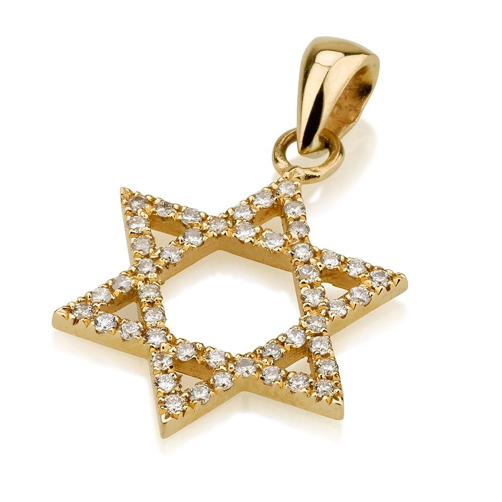 Star of David Pendant 18k Gold Pave Set Diamonds - Baltinester Jewelry