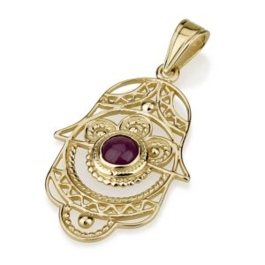 Ruby Filigree Hamsa Pendant 14k Gold - Baltinester Jewelry