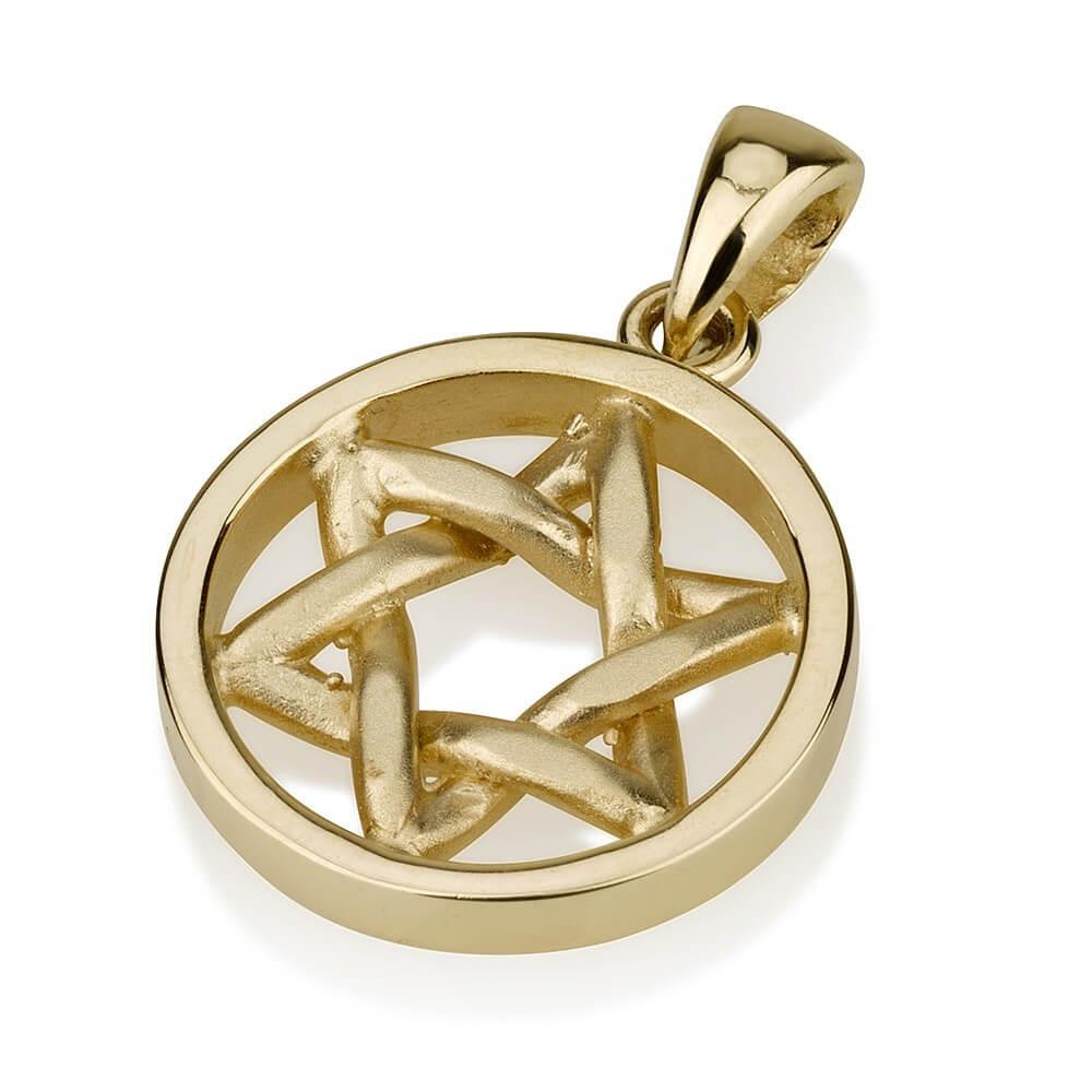 Handmade Round Star of David Pendant 14k Gold - Baltinester Jewelry