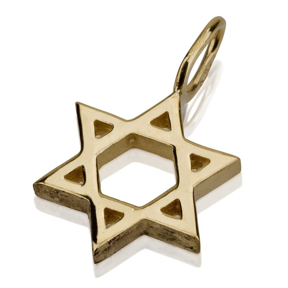 Solid Gold Minimalist Star of David Pendant - Baltinester Jewelry