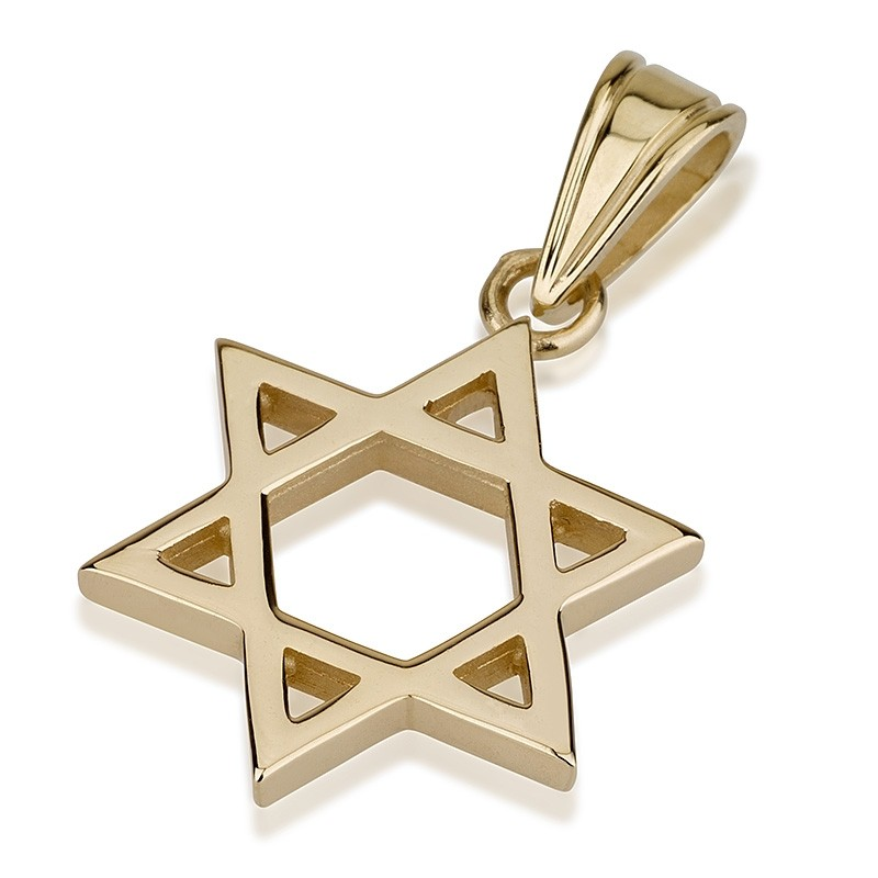 Classic Thick Gold Star of David Pendant - Baltinester Jewelry
