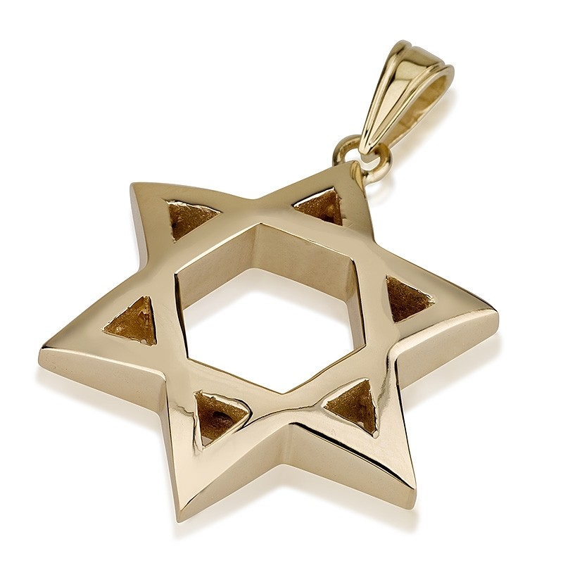 Curved Gold Star of David Pendant - Baltinester Jewelry