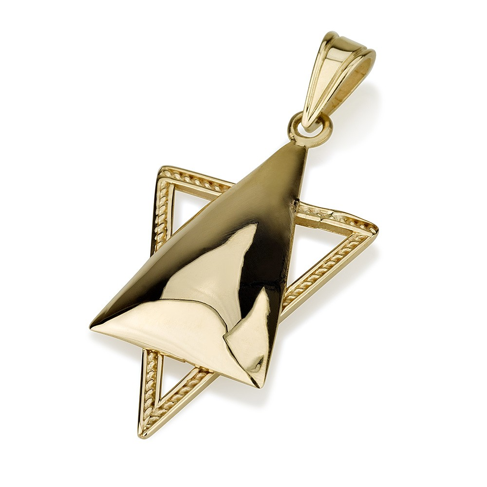 Contemporary Star of David 14k Gold Pendant - Baltinester Jewelry