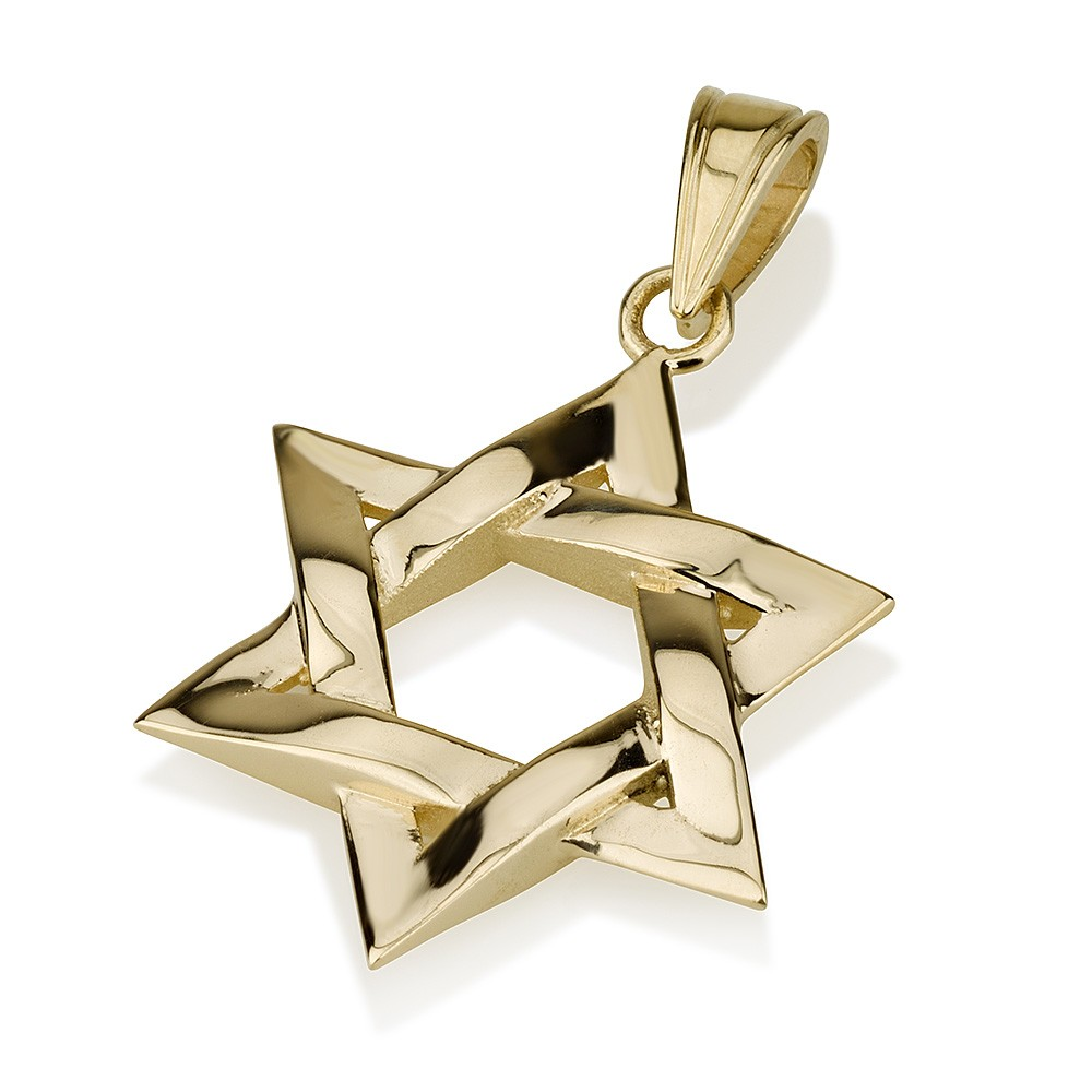 Shiny Gold Intertwined Star of David Pendant - Baltinester Jewelry