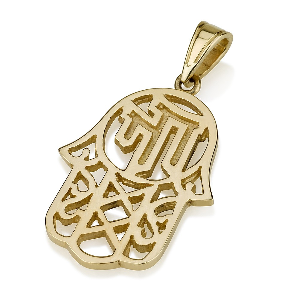 Gold Hamsa Pendant with Chai - Baltinester Jewelry