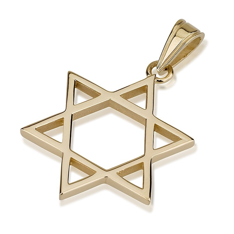 Thin Gold Star of David Pendant - Baltinester Jewelry
