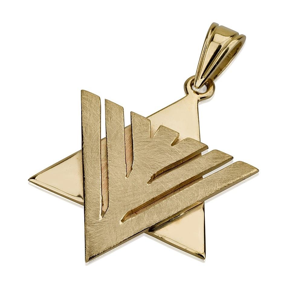 Geometric Star of David Menorah Pendant - Baltinester Jewelry