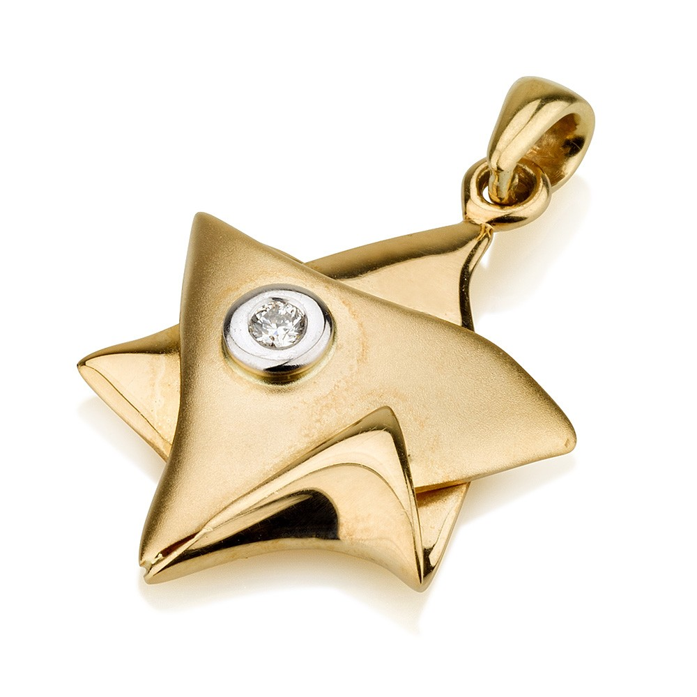 Gold Star of David with Solitaire Diamond - Baltinester Jewelry