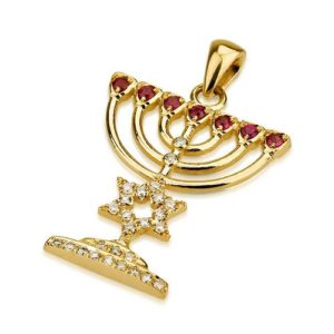 18k Gold Star of David Diamond and Ruby Menorah Pendant - Baltinester Jewelry