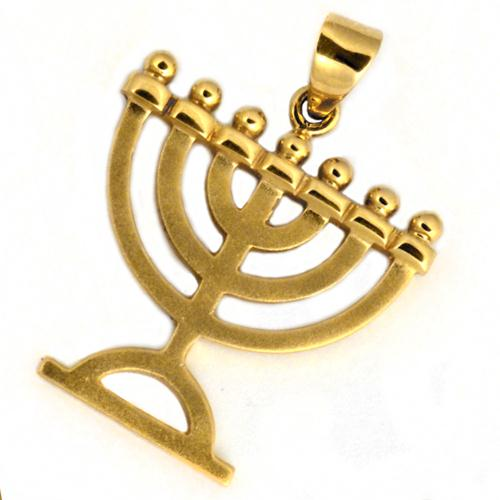 14k Golden Menorah Pendant - Baltinester Jewelry
