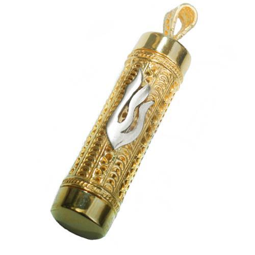 14k Gold Filigree Cylinder Mezuzah Pendant - Baltinester Jewelry