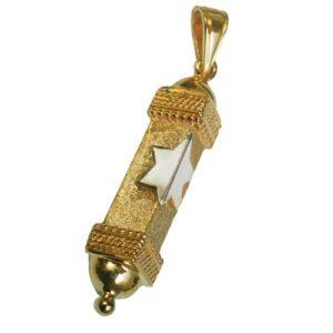 14k Gold Star of David Triangular Mezuzah Pendant - Baltinester Jewelry