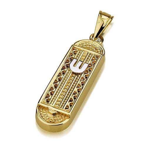 14k Gold Yemenite Style Rounded Mezuzah Pendant - Yellow Gold - Baltinester Jewelry