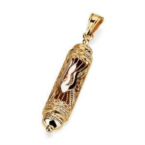 14K Gold Filigree Mezuzah Pendant - Baltinester Jewelry