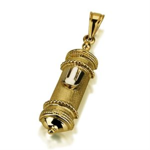 14k Gold Florentine Mezuza Pendant - Baltinester Jewelry