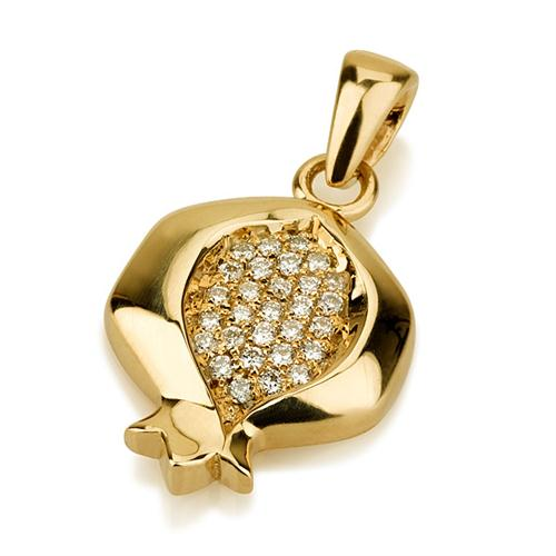 14k Gold Diamond Pomegranate Jewish Pendant - Baltinester Jewelry