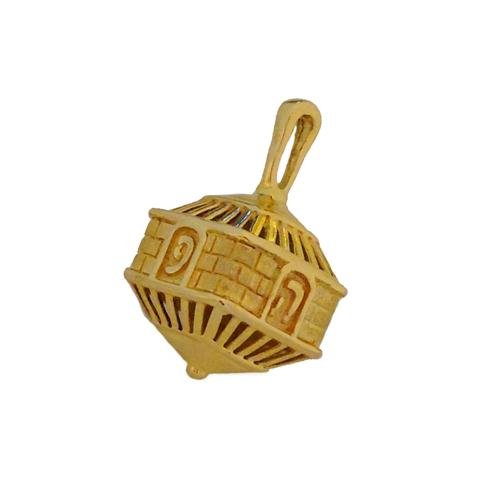 14k Gold Jerusalem 3D Hanukkah Dreidel Charm Pendant - Baltinester Jewelry