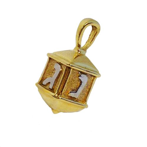 14k Gold Two Tone Hanukkah Dreidel Charm Pendant - Baltinester Jewelry