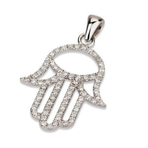 18K White Gold Diamond Hamsa Pendant - Baltinester Jewelry