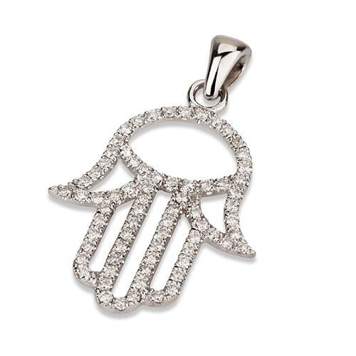 18K White Gold Diamond Hamsa Pendant - Baltinester Jewelry