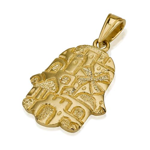 14k Gold Matte Jerusalem Hamsa Pendant - Baltinester Jewelry
