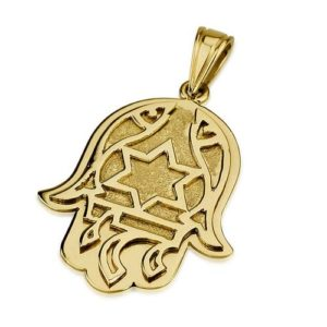 14k Gold Florentine Chai Protection Hamsa Pendant - Baltinester Jewelry