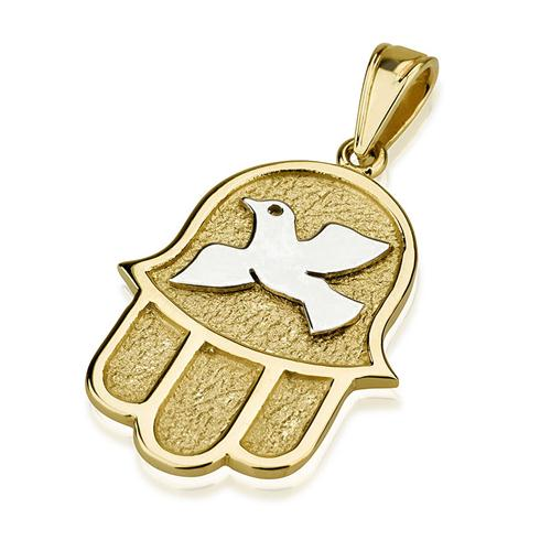 14k Gold Dove Florentine Hamsa Pendant - Baltinester Jewelry
