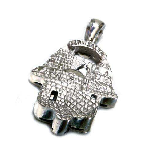 14k Gold Jerusalem Hamsa Pendant - White Gold - Baltinester Jewelry