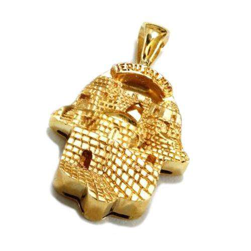 14k Gold Jerusalem Hamsa Pendant - Yellow Gold - Baltinester Jewelry