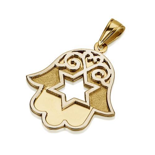 14K Gold Star of David Florentine Hamsa Pendant - Baltinester Jewelry