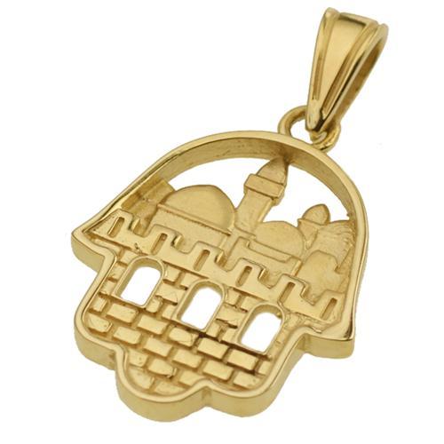 14K Gold 3D Jerusalem Hamsa Pendant - Baltinester Jewelry