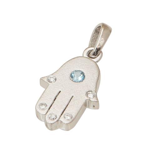 14K White Gold Blue Topaz and Diamonds Mini Hamsa Pendant - Baltinester Jewelry