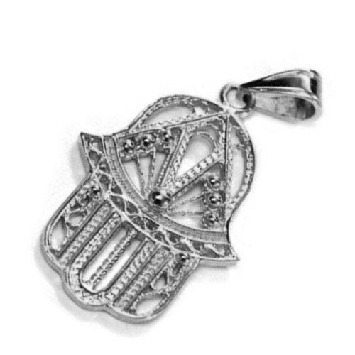 14k White Gold Filigree Hamsa Pendant - Baltinester Jewelry