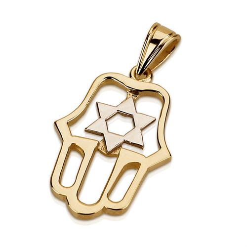 14K Gold Star of David Cutout Hamsa Pendant - Baltinester Jewelry