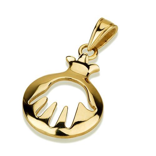 14K Gold Pomegranate Cutout Hamsa Pendant - Baltinester Jewelry