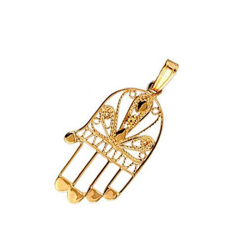 Delicate 14k Gold Filigree Hamsa Pendant - Baltinester Jewelry