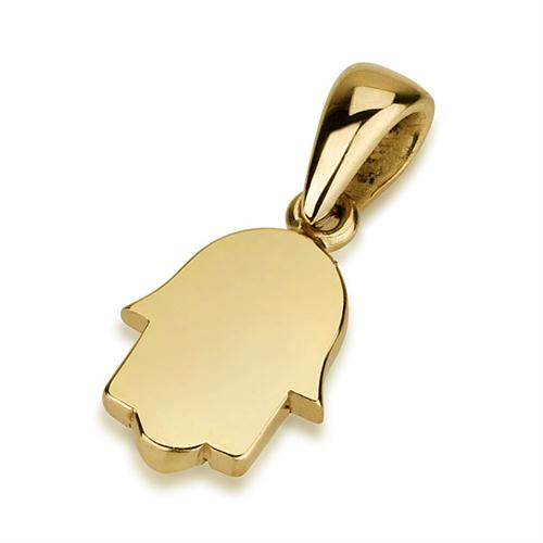 Mini 14K Gold Minimalist Hamsa Pendant - Baltinester Jewelry