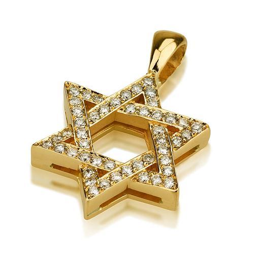 Classic 18k Gold Thick Diamond Star of David Pendant - Baltinester Jewelry