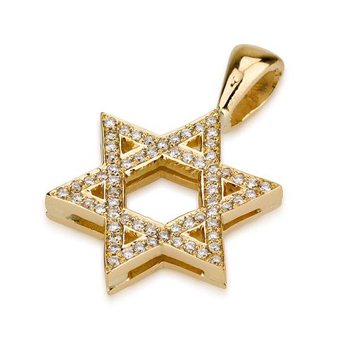 18k Gold Diamond Classic Star of David Pendant - Baltinester Jewelry