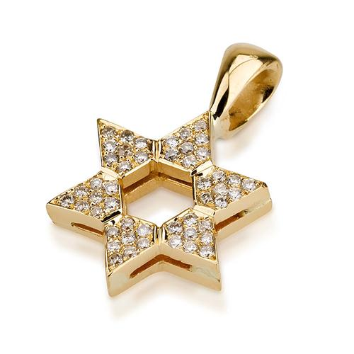 18k Gold Thick Diamond Elegant Star of David Pendant - Baltinester Jewelry