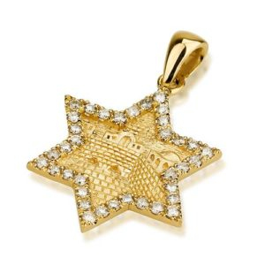 18k Gold Diamond Jerusalem Star of David Pendant - Baltinester Jewelry