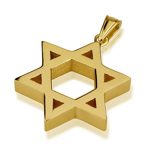 14k Gold Large Heavyweight Star of David Pendant - Baltinester Jewelry