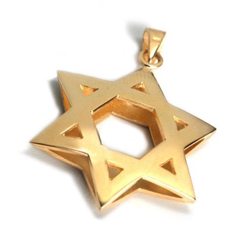 14k Gold 3D Reversible Star of David Pendant - Baltinester Jewelry
